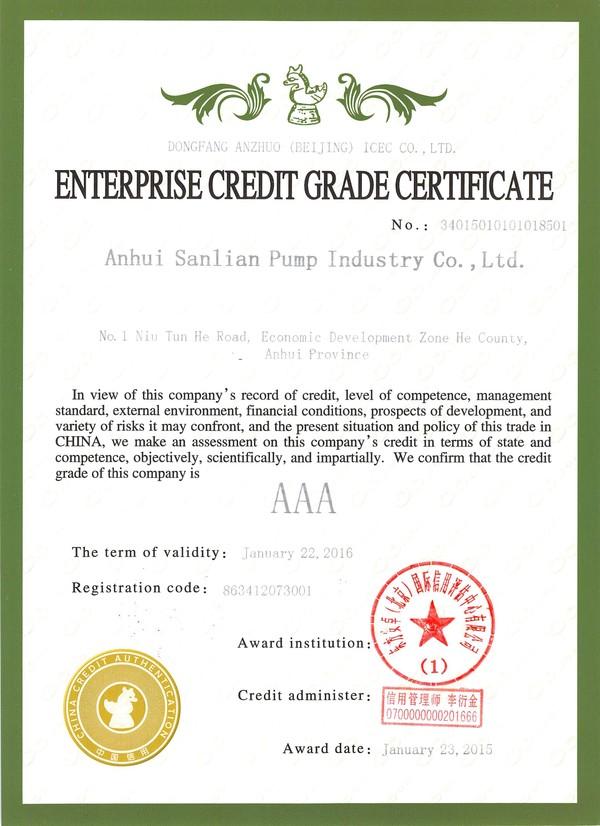 全国信用等级证书(英文版)