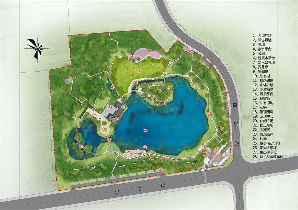 可玩,可赏的城市综合性公园,主要运用灰瓦,灰砖,钢木,青石作为设计