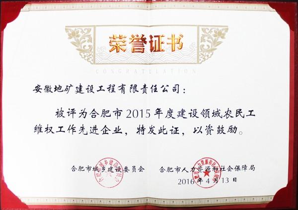 2015建设领域农民工维权先进企业